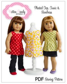 PDF Sewing Pattern for 18 Inch American Girl Doll Clothes - Pleated Sundress, Tunic or Top ePattern