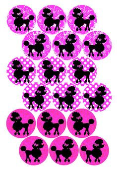 "Pink with Poodles! Bottle cap image pack Formatted for printing on 4"" x 6"" photo paper"
