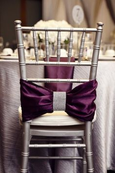 chair covers, color, wedding ideas, chair sashes, chair backs, purple wedding, bow, bride, chair decorations