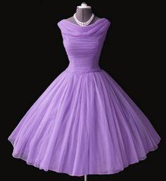 fashion, party dresses, color, blue, bridesmaid dresses, 1950s dresses, purple vintage dress, chiffon dresses, 50s purple dress