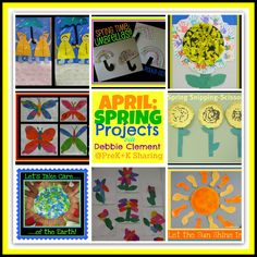 Spring Projects, art projects for APRIL, many photos and ideas for teachers Pre K-1, via Debbie Clement at PreK+K Sharing