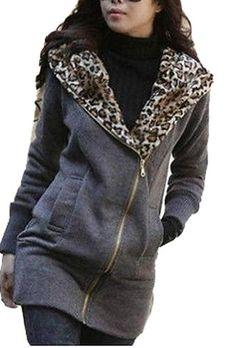 Women Winter Leopard Hoodie Zip Coat... $32.99 #topseller