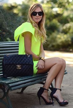 fashion, chanel bags, purs, neon green, the dress, summer outfits, shoe, bright colors, neon yellow