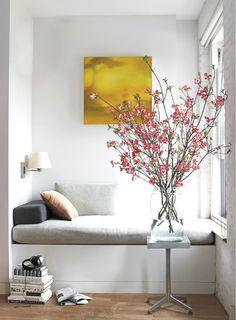 nook rose, reading corners, books, color palettes, reading nooks, windows, writing nook, window seats, cherry blossoms