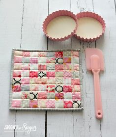 Postage Stamp Pot Holder and Fabric Scraps - A Spoonful of Sugar