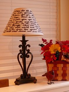 Book quotes on a lamp shade
