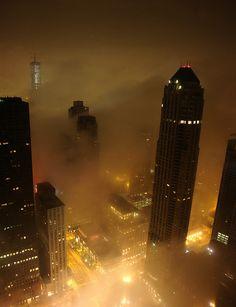 Foggy night in Chicago