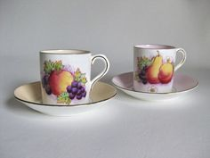 2 Paragon Demitasse Cups and Saucers Fruit