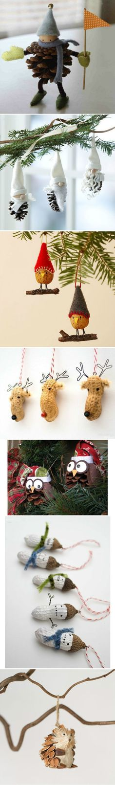 Various ideas for using nuts in the winter as decoration.   #DIY #christmas #rudolph #fun