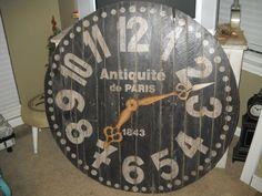 Custom made 4 ft Paris Pallet Clock clockhttp://www.facebook.com/2ndEssence