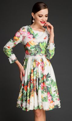 White Long Sleeve Lace Embroidery Floral Pleated Dress