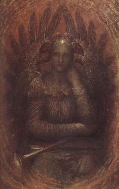 George Frederic Watts,  British, 1817 - 1904,  The Dweller in the Innermost; The Dweller in the Innermost is one of Watts' most overtly Symbolist paintings. angel, symbolist, art, dweller, freder watt, georg frederick, frederick watt