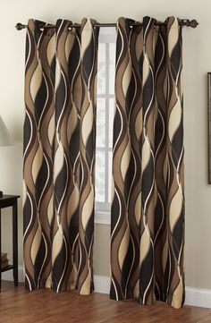 """The Intersect Grommet Curtains has a horizontal multi color wave pattern. Oil rubbed bronze grommets are 1 1/2"""" in diameter.  #Contemporary # Modern #Curtains"""