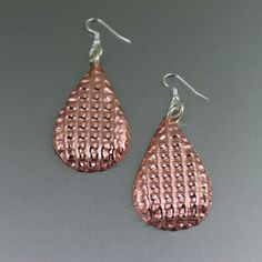 Double Corrugated Copper Tear Drop Earrings