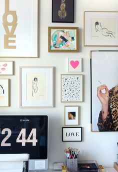 home office / gallery wall / via MadeByGirl