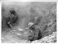 Transmissions soldiers during a gas attack.