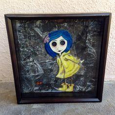"""ButtonArtMuseum.com - 12x12 """"Coraline"""" Mixed Media Glass Shadowbox"""