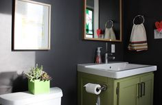 Love the dark yet calm colors in this bathroom.