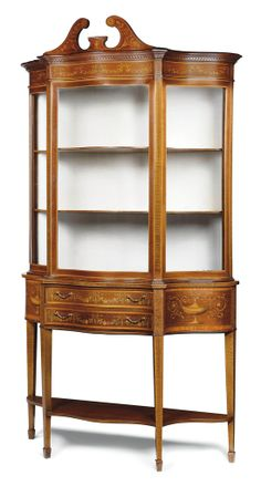 A LATE VICTORIAN MAHOGANY, SATINWOOD CROSSBANDED AND MARQUETRY DISPLAY CABINET BY EDWARDS & ROBERTS, LATE 19TH CENTURY