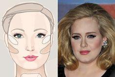 face makeup, adel, face shapes, round face, makeup tips, beauti, beauty, famous peopl, makeup contouring