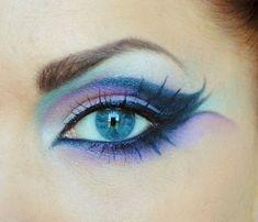 cool eye makeup costum, ocean waves, makeup ideas, blue eye makeup, fairi, beauti, halloween eyes, hair, peacock colors