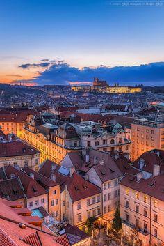 Blue clouds in Prague, Czech Republic