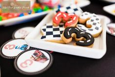 Cute road and race car cookies at a Disney Cars Party #carsparty #ideas #carcookies #roadcookies