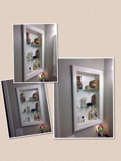 project shelves made to replace old bathroom medicine cabinet more