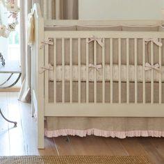 Light Pink Linen Crib Bedding