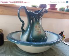 20% off Vintage Treasures Ironstone Wash Basin and Pitcher Antique