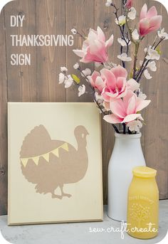Create this #DIY Thanksgiving sign for home decor from @Heidi! #turkeytablescapes