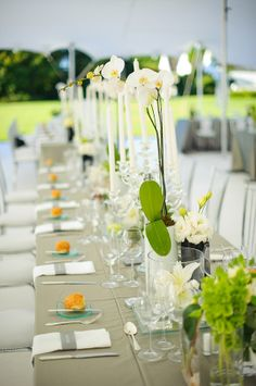 tall white orchid centerpieces