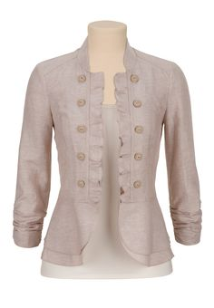 Military Blazer with Ruffled Edge