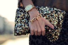 gold sequin clutch zara