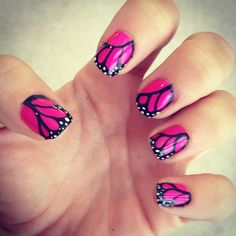 Pink Butterfly Wing Nails