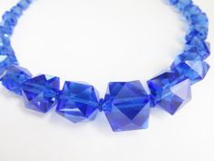 Chunky Art Deco Blue Glass Faceted Bead by GrandVintageFinery, $58.00