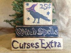 Primitive Country Crow 25 Witch Spells Curses Extra Shelf Sitter Wood Blocks #WitchSpells