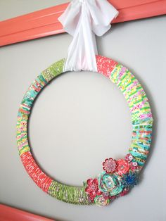 diy wreath with scrap fabric. Really want to make one for my little girls room!
