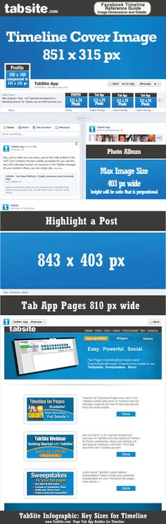 Facebook Timeline for Pages Image Dimensions Infographic from Tabsite