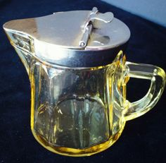 """Heisey Yellow Glass Syrup Pitcher with Metal Top Paneled 3"""" tall vintag kitchen"""