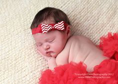 Red and White Chevron Felt Bow Headband by extrafrostingplease, $8.00