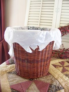 Trash to Treasure Decorating: lamp shade repurposed into a waste basket.