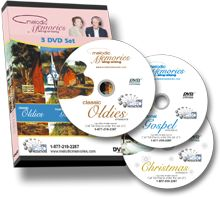 Sing-Along songs on DVD for seniors! Classic Oldies, Christmas songs and Traditional Gospel.  http://melodicmemories.com