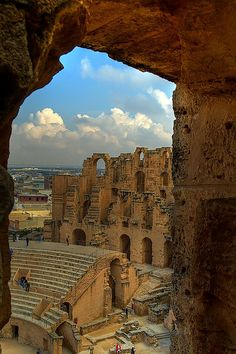 The amphitheater in El Djem, Tunisia  built between 230-238 AD,  It is the most spectacular roman building in  North Africa. Preserved in better condition than the Roman Colosseum and it is the third largest amphitheater in the world.