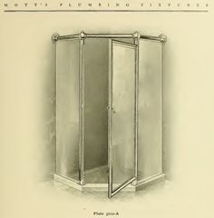 Glass shower enclosure from 1907 Mott's Iron Works Plumbing Fixtures catalog from 1907.