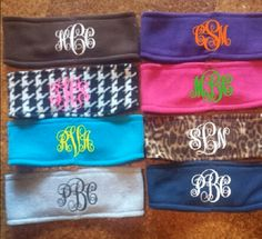 Fleece monogrammed earwarmer headbands. Perfect for fall! 20 headband colors and any color monogram! great for the chilly weather, outdoor workouts and football games. Preppy & stylish.