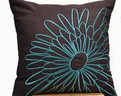Teal Magnolia Throw Pillow Cover, Decorative Pillow Cover 18 x 18, Teal Flower on Dark Brown Pillow, Pillow Accent Teal, Linen Pillow Case
