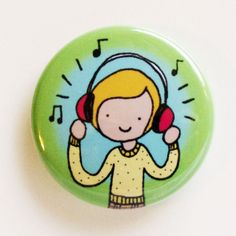 My Headphones Button #handmade #button #badge #pin #indie