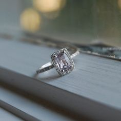Lavender Sapphire Diamond Ring 14k white gold by EidelPrecious, $950.00