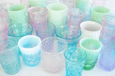 Pastel Colored Glasses - Such Pretty Things Blog    #shabby #chic #glasses #tumblers #drink #pastel #pretty #vintage